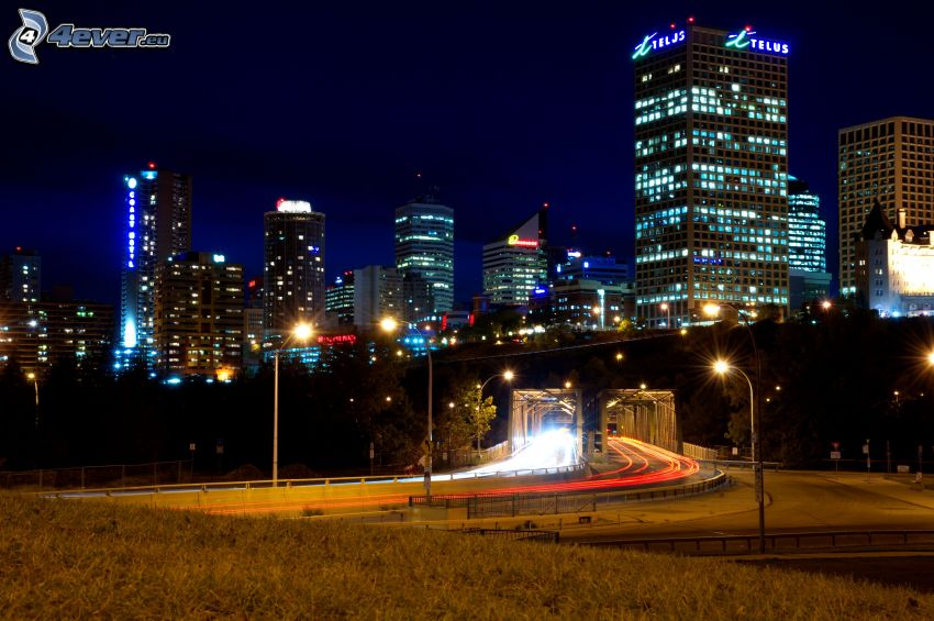 Edmonton, ciudad de noche, carretera de noche