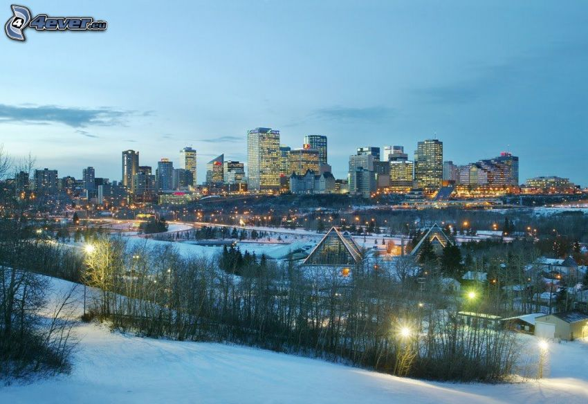 Edmonton, rascacielos, nieve