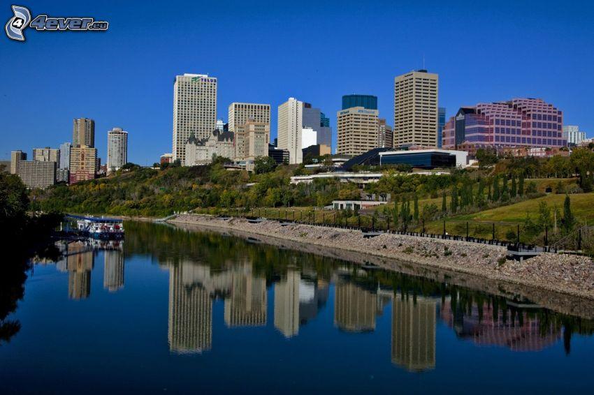 Edmonton, rascacielos, río, reflejo