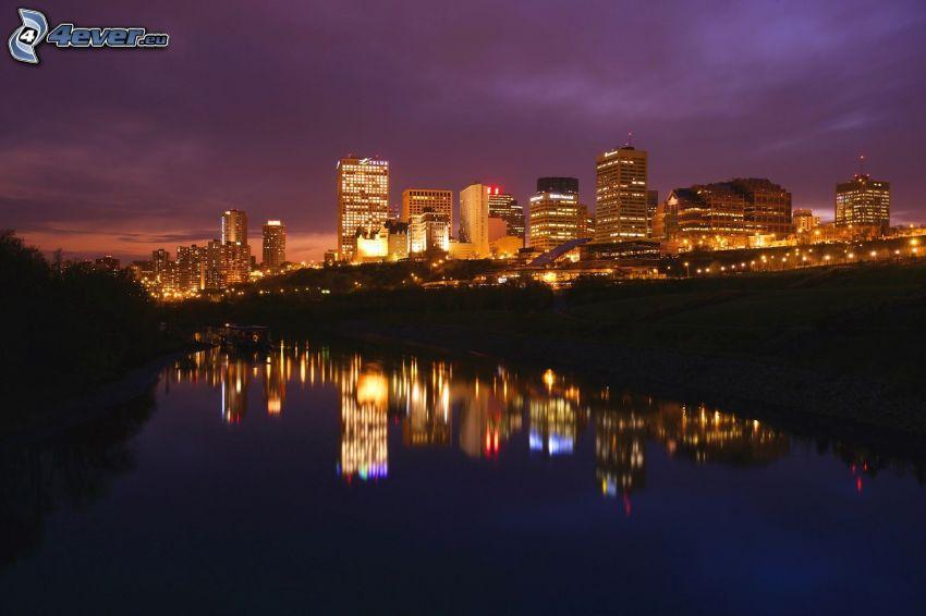 Edmonton, río, reflejo, ciudad de noche