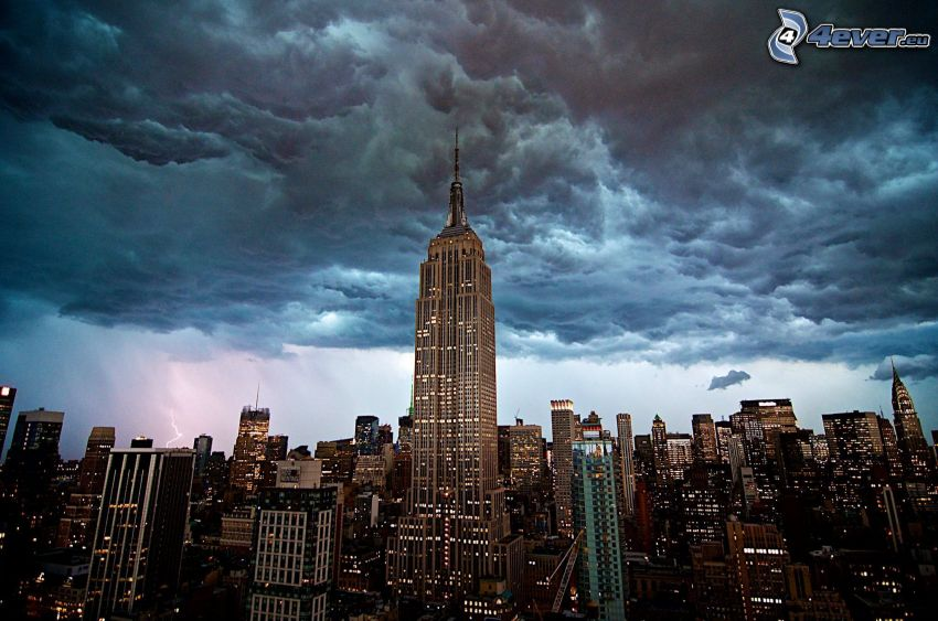 Empire State Building, nubes, New York