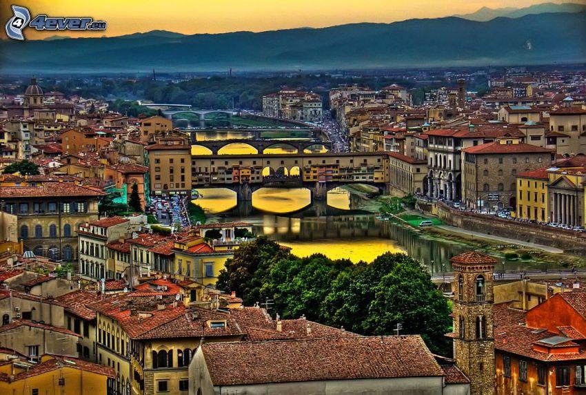 Florencia, Ponte Vecchio, Arno, río, puente