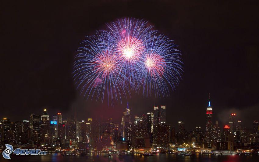 fuegos artificiales, New York, ciudad de noche