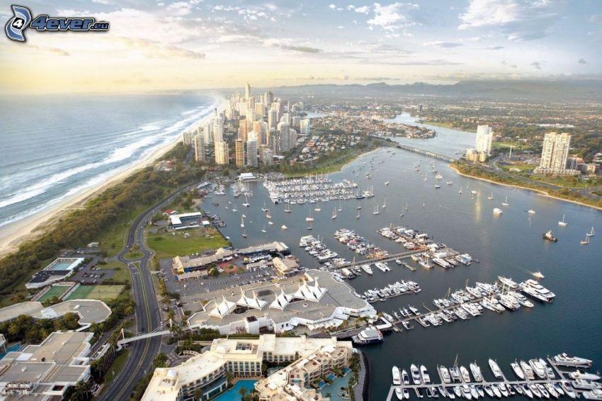 Gold Coast, rascacielos, mar, puerto