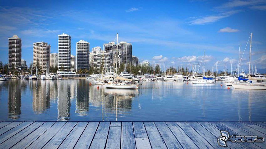 Gold Coast, rascacielos, puerto, naves, muelle