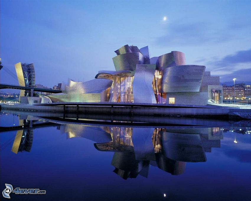 Guggenheim Museum, atardecer, ciudad, reflejo