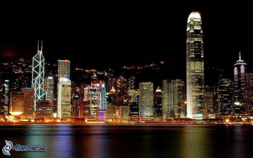 Hong Kong, Bank of China Tower, ciudad de noche, ciudad grande, rascacielos, luces