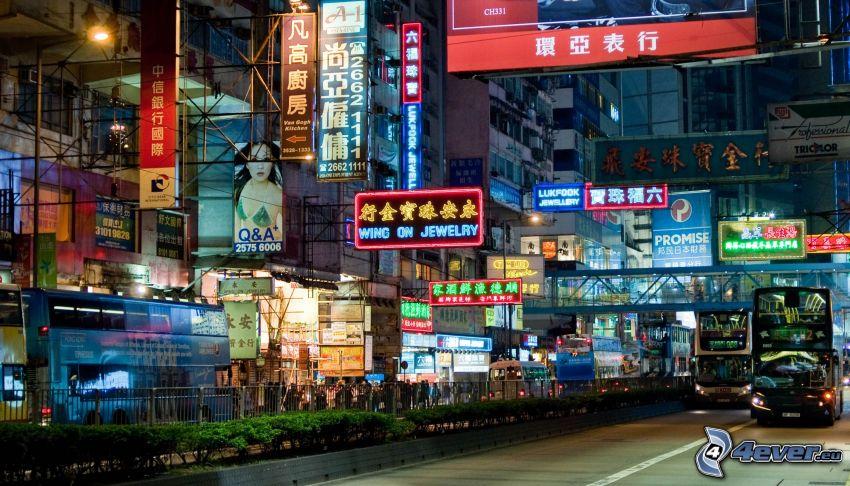 Hong Kong, calle, ciudad de noche