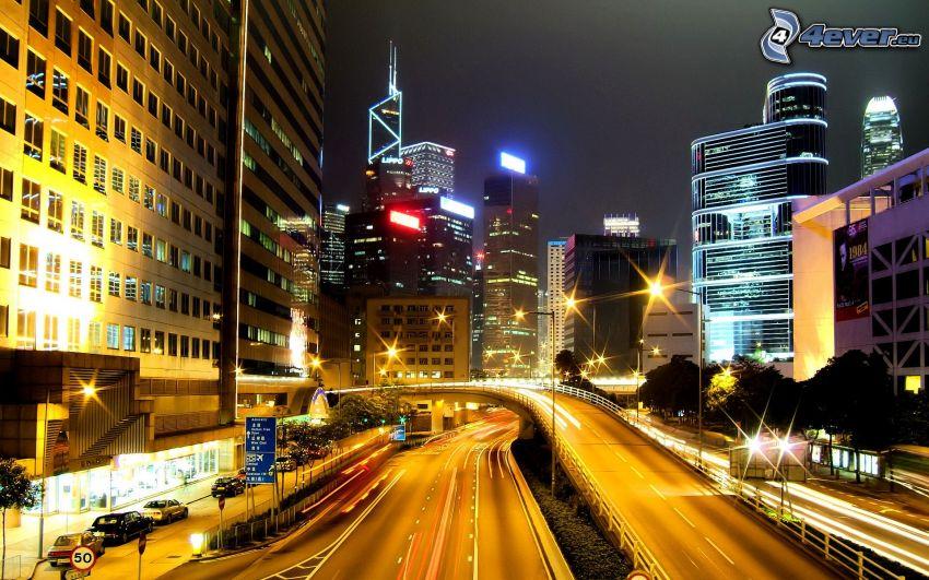 Hong Kong, carretera de noche, ciudad de noche