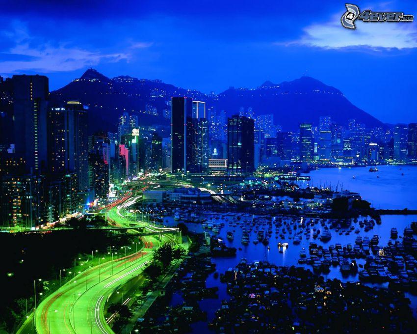 Hong Kong, ciudad de noche, puerto, marina