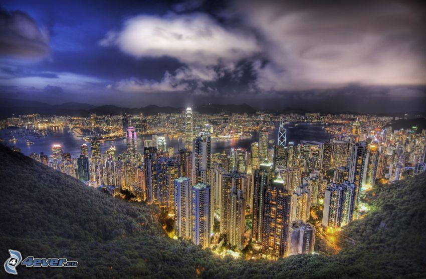 Hong Kong, ciudad de noche, rascacielos, HDR