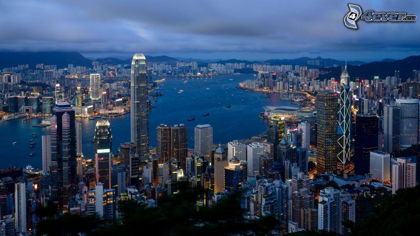 Hong Kong, ciudad de noche, vistas a la ciudad