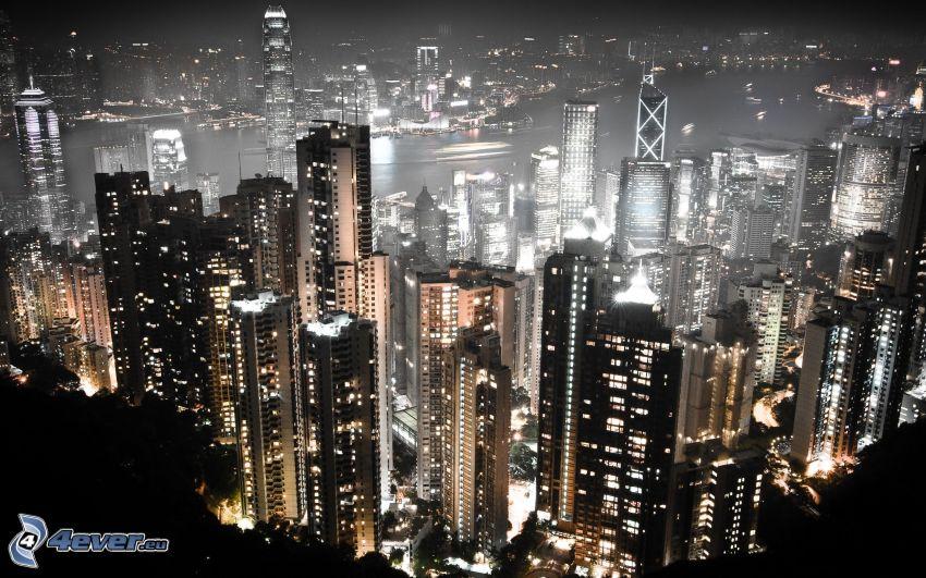 Hong Kong, rascacielos, ciudad de noche