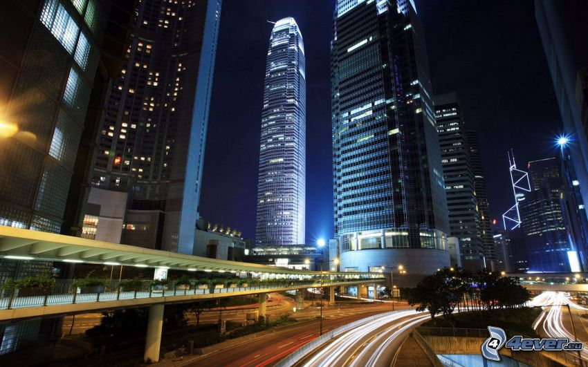 Hong Kong, Two International Finance Centre, rascacielos, ciudad de noche