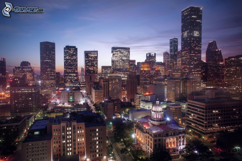 Houston, ciudad de noche, rascacielos