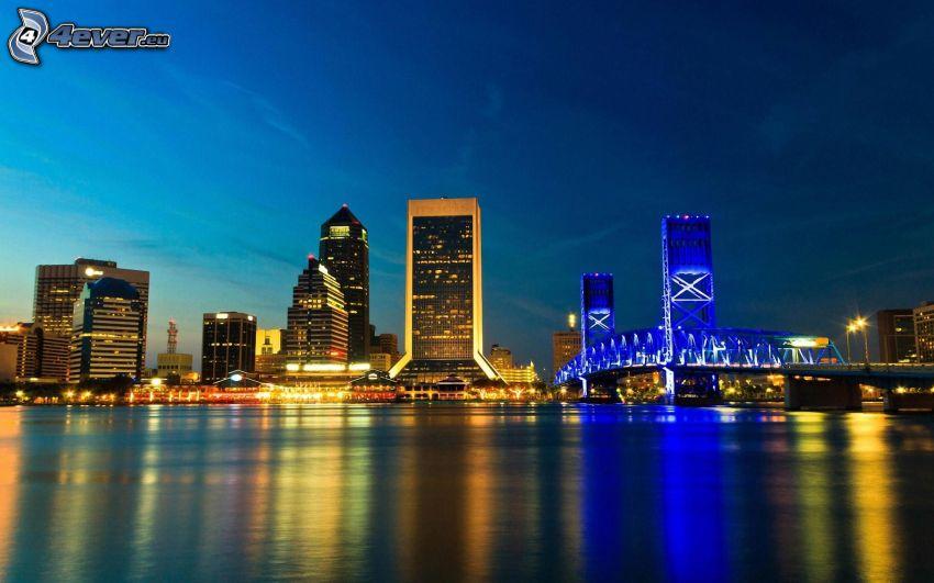 Jacksonville, Florida, USA, ciudad de noche