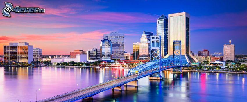 Jacksonville, rascacielos, puente, Ciudad al atardecer