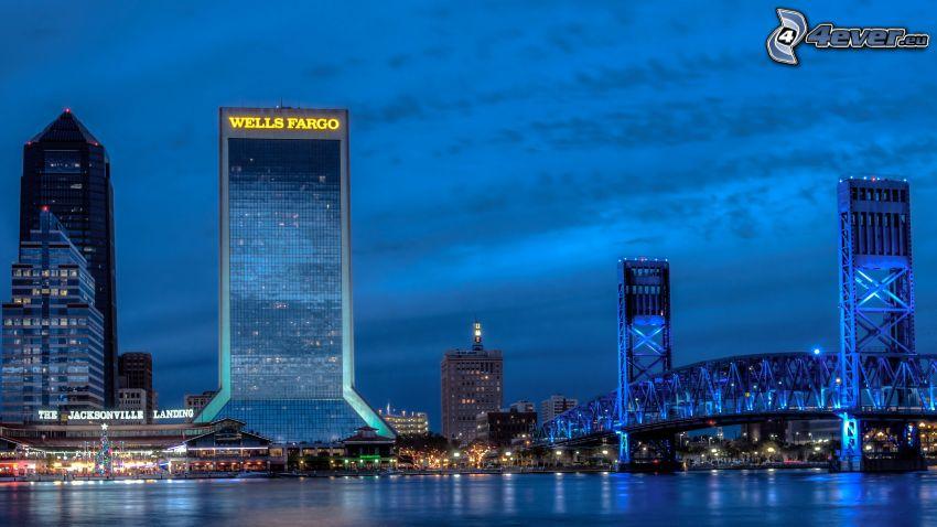Jacksonville, rascacielos, puente, ciudad de noche