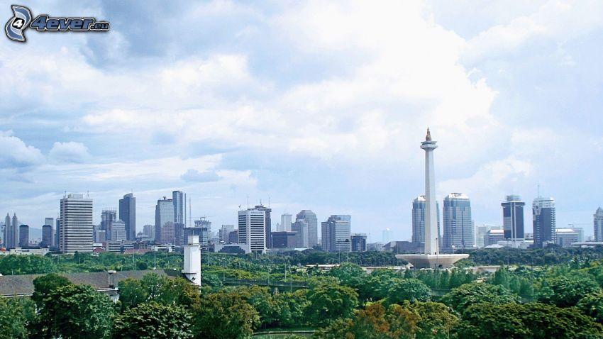 Jakarta, rascacielos, árboles