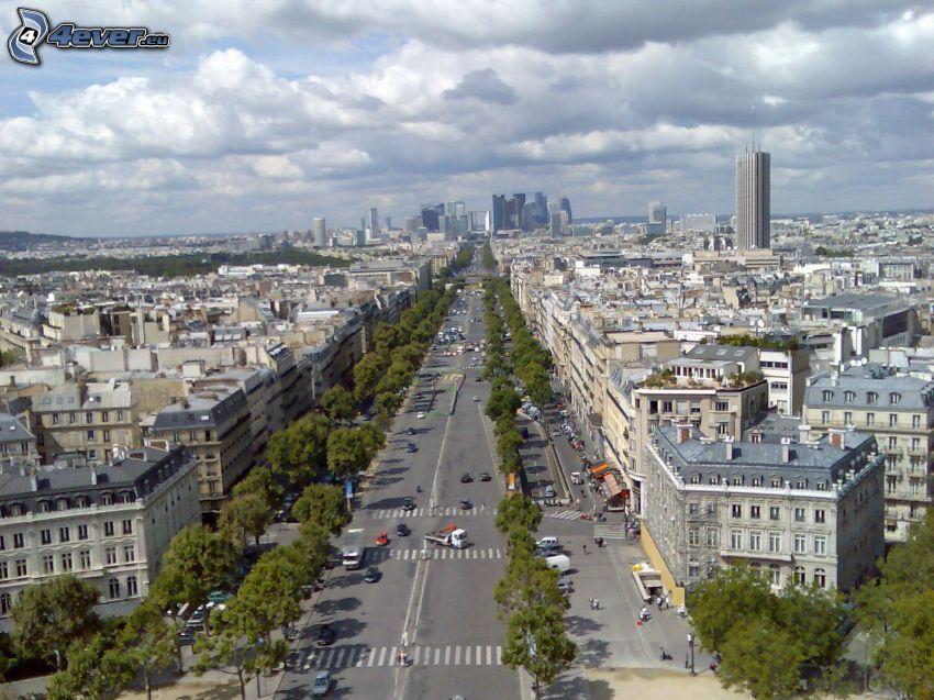 La Défense, camino, rascacielos, París