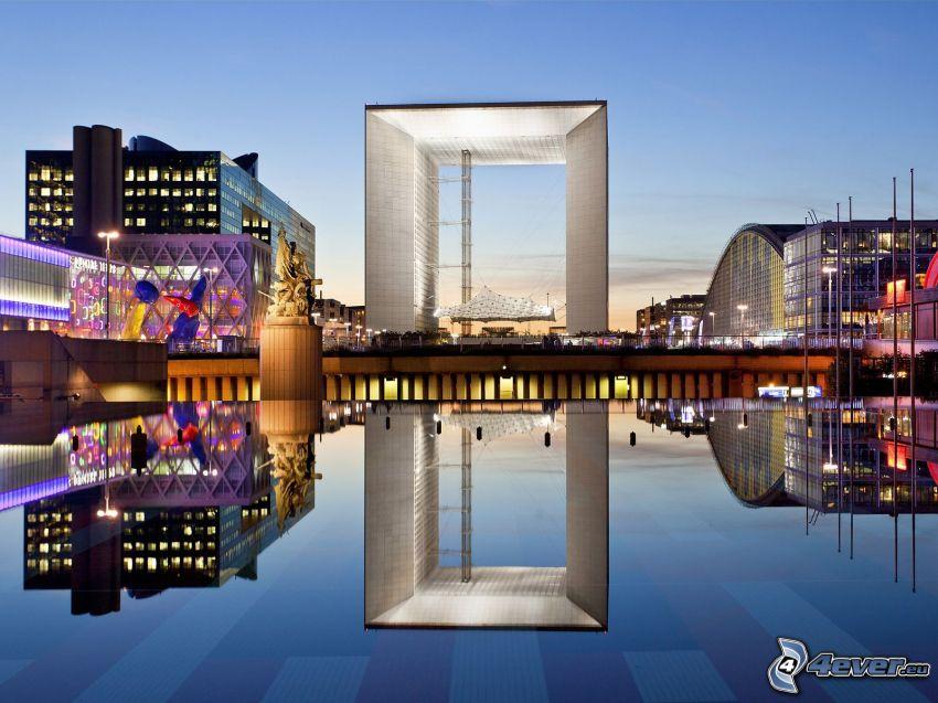La Défense, plaza, reflejo, París