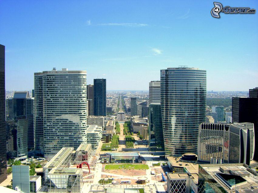 La Défense, rascacielos, calle, París