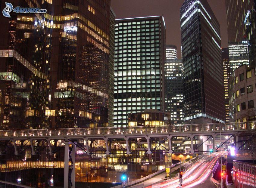 La Défense, rascacielos, ciudad de noche, París