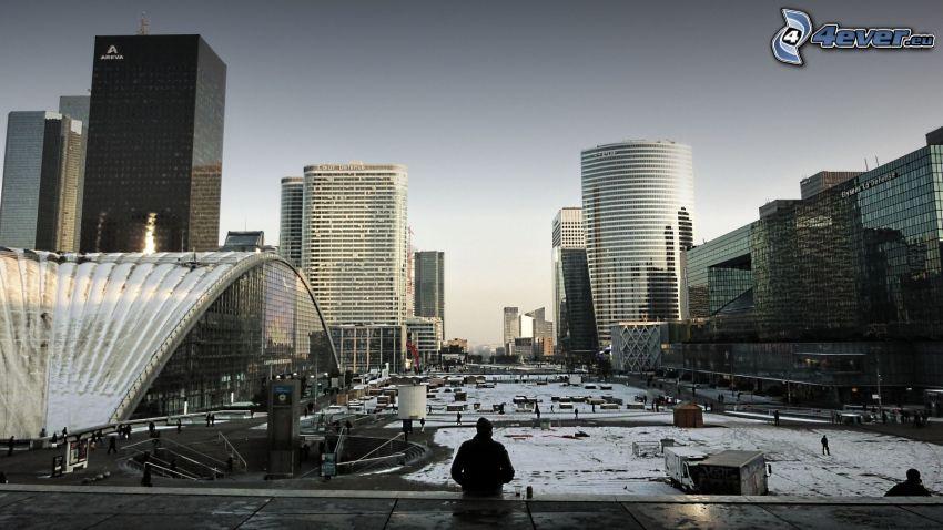 La Défense, rascacielos, plaza, París