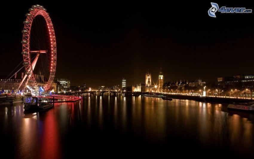 London Eye, Londres, Río Támesis, ciudad de noche