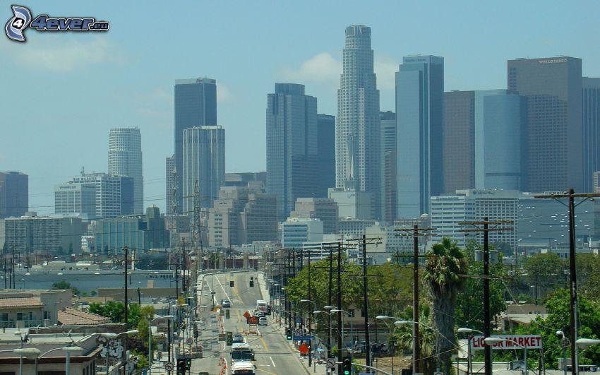 Los Angeles, rascacielos, camino
