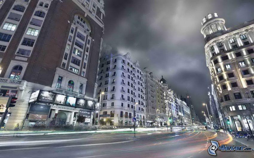 Madrid, calle, ciudad de noche