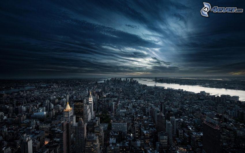 Manhattan, New York, ciudad de noche, HDR