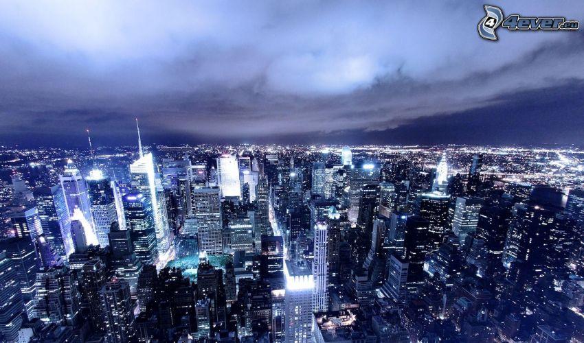 Manhattan, New York, ciudad de noche, rascacielos