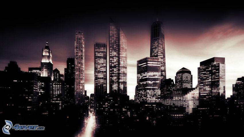 Manhattan, New York, ciudad de noche