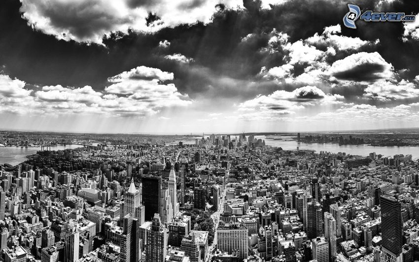 Manhattan, New York, nubes, blanco y negro