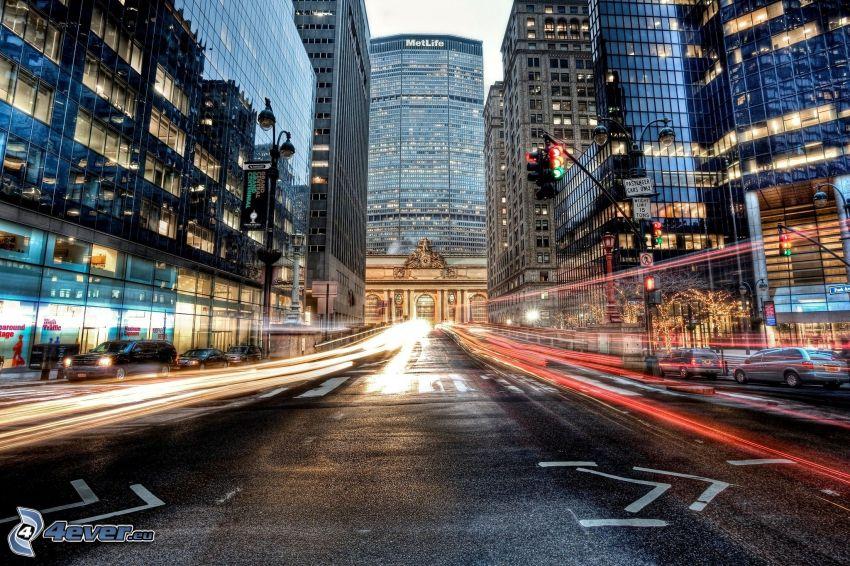 Manhattan, rascacielos, calle, luces, HDR