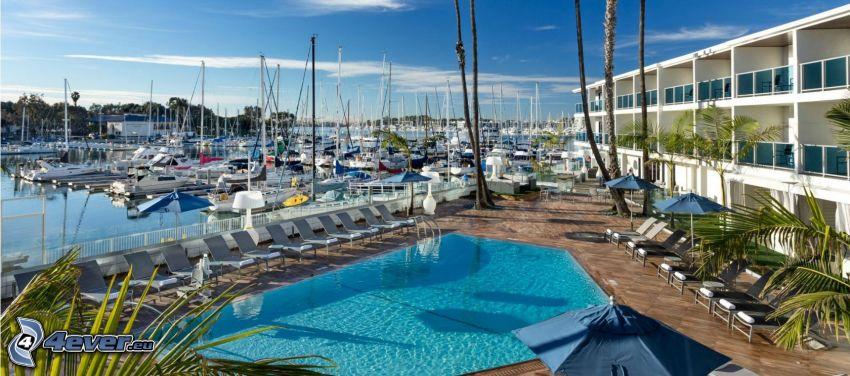 Marina Del Rey, naves, puerto, piscina, California