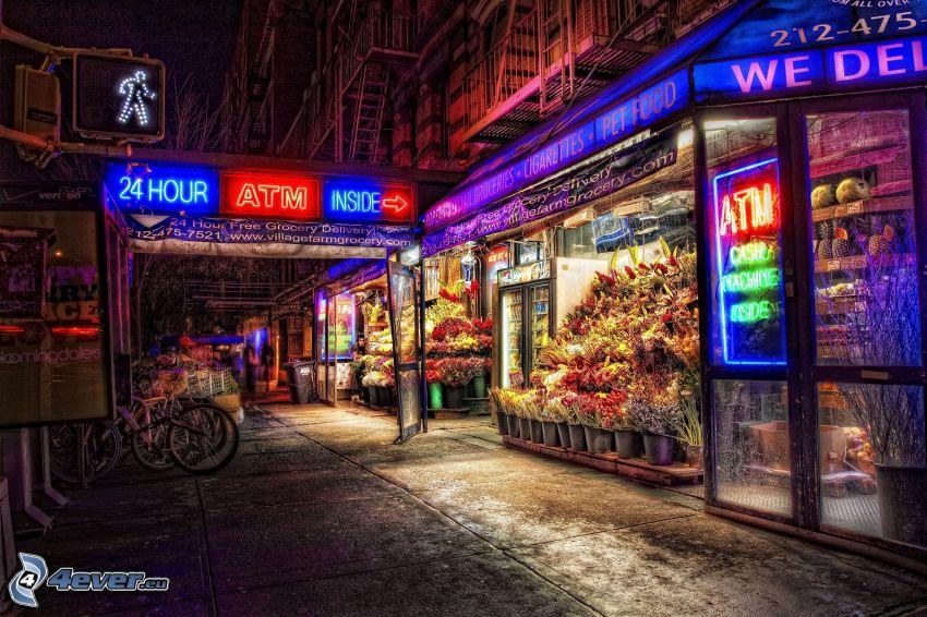 mercado, ciudad de noche