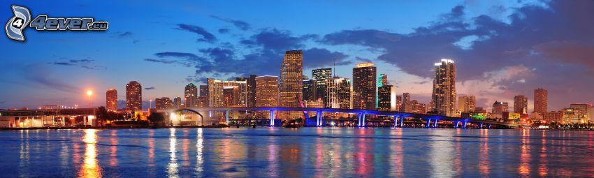 Miami, panorama, rascacielos, ciudad de noche
