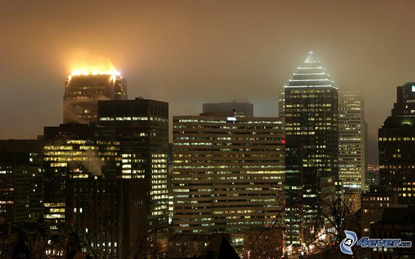 Montreal, rascacielos, Ciudad al atardecer