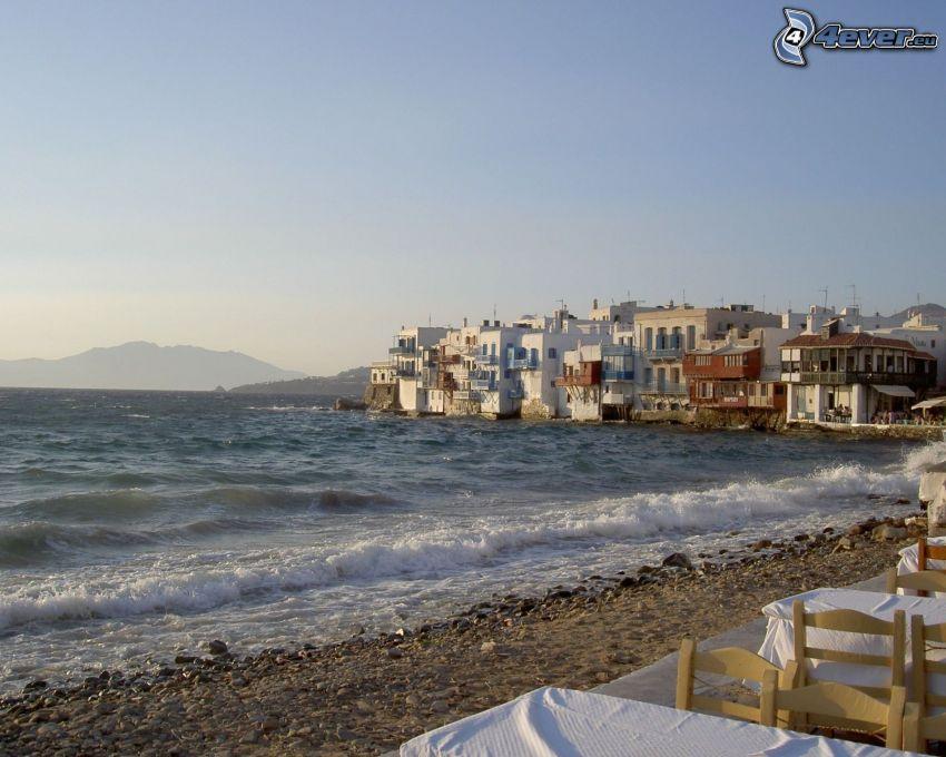 Mykonos, ciudad costera, playa, mar