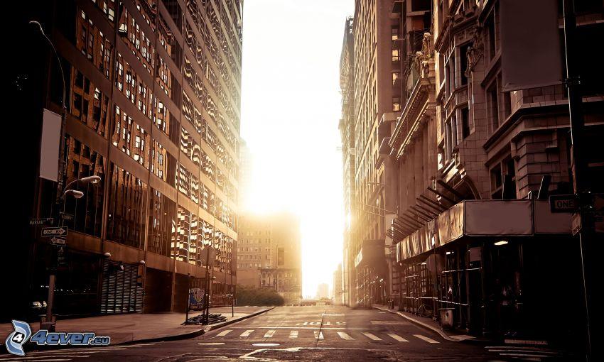 New York, calle, puesta de sol en la ciudad