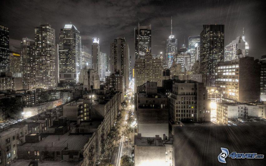 New York, ciudad de noche, luces