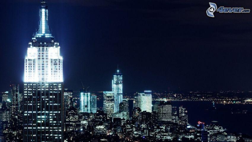New York, Empire State Building, ciudad de noche