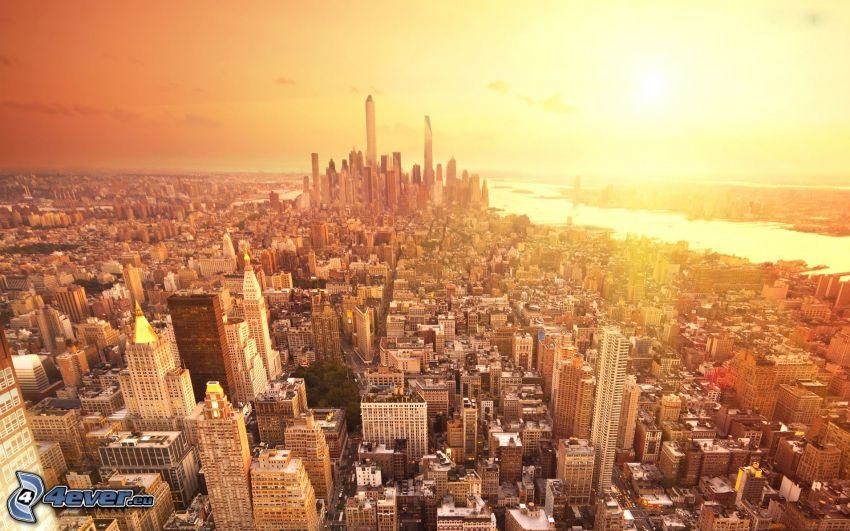New York, puesta de sol sobre la ciudad