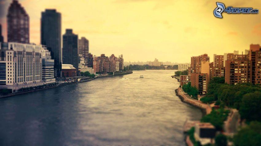 New York, río, diorama