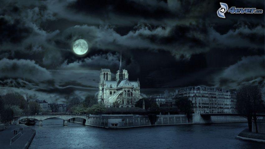 Notre Dame, París, Río Sena, ciudad de noche, noche, cielo, nubes, mes, Luna llena, Foto en blanco y negro