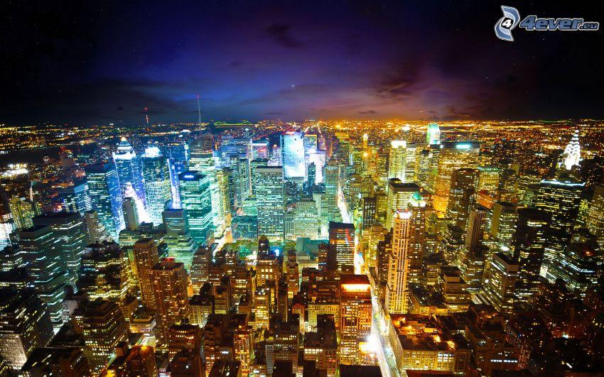 Nueva York de noche, ciudad de noche, luces