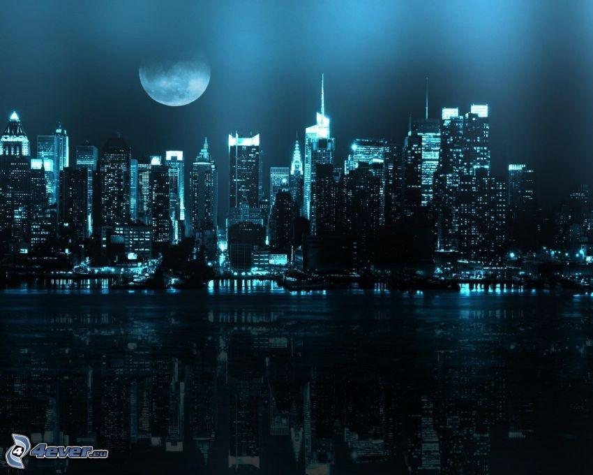 Nueva York de noche, ciudad de noche, Luna