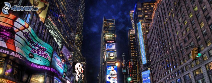 Nueva York de noche, Times Square, rascacielos, publicidad